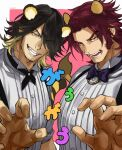 2boys alternate_costume animal_ears bow bowtie character_request claw_pose formal highres kemonomimi_mode kesurido large_pectorals lion_boy lion_ears lion_tail long_sideburns male_focus mature_male multiple_boys muscular muscular_male redhead short_hair sideburns smile tail tiger_boy tiger_ears tiger_tail tonbokiri_(touken_ranbu) touken_ranbu upper_body yellow_eyes