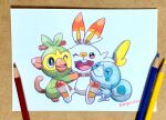 absurdres animal_focus black_eyes colored_pencil_(medium) creature gen_8_pokemon grookey highres mojacookie no_humans one_eye_closed photo_(medium) pokemon pokemon_(creature) scorbunny simple_background sobble teeth traditional_media twitter_username white_background
