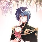 1boy bangs blue_hair blue_nails blush brill_p chinese_clothes closed_mouth earrings flower frilled_shirt_collar frilled_sleeves frills genshin_impact highres holding holding_flower jacket jewelry looking_at_viewer male_focus nail_polish shaded_face short_hair simple_background single_earring smile solo tassel tassel_earrings white_background white_flower xingqiu_(genshin_impact) yellow_eyes
