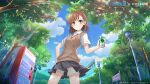 1girl alansabrina118 bangs bob_cut brown_eyes brown_hair brown_sweater_vest can chinese_commentary clouds cloudy_sky cowboy_shot day dress_shirt drink foliage from_below furrowed_eyebrows grey_skirt hand_on_hip highres holding holding_can holding_drink lamppost light_blush light_rays looking_at_viewer misaka_mikoto mountain outdoors park pleated_skirt school_uniform shirt short_hair short_sleeves shorts shorts_under_skirt sign skirt sky smile solo standing sunbeam sunlight sweater_vest toaru_kagaku_no_railgun toaru_majutsu_no_index tokiwadai_school_uniform translated tree vending_machine white_shirt white_shorts