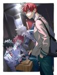 4boys absurdres angry backpack bag bakugou_katsuki blazer blonde_hair blue_eyes boku_no_hero_academia cellphone commentary_request green_eyes green_hair green_pants hair_behind_ear hands_in_pockets highres holding holding_phone jacket kirishima_eijirou looking_at_viewer male_focus midoriya_izuku multicolored_hair multiple_boys natsuko_(bluecandy) necktie open_mouth pants phone red_eyes red_neckwear redhead scar scar_across_eye school_uniform smartphone todoroki_shouto two-tone_hair u.a._school_uniform v-shaped_eyebrows white_eyes white_hair
