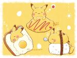 :3 artist_name blush bread closed_eyes closed_mouth commentary_request food fried_egg gen_1_pokemon highres lying no_humans nose_bubble omurice on_side pikachu pokemon pokemon_(creature) rice signature sleeping smile temariame14 thought_bubble zzz