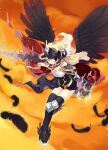 1girl angel_wings black_dress black_legwear black_wings blonde_hair cape claw_(weapon) closed_mouth commentary_request dress feathered_wings flying full_body holding holding_lance holding_polearm holding_weapon ikusabe_lu kneehighs lance long_hair looking_at_viewer lowres orange_sky polearm ragnarok_online red_cape red_eyes sky solo sunset valkyrie valkyrie_randgris visor_(armor) weapon wings