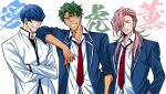 3boys adam_(sk8) arm_at_side blue_hair cherry_blossom_(sk8) closed_eyes crossed_arms facing_viewer green_hair grin hair_over_one_eye joe_(sk8) laughing long_hair male_focus messy_hair multiple_boys necktie pink_hair red_neckwear school_uniform shirt short_hair sisido_(black_candy) sk8_the_infinity smile sweatdrop tan upper_body white_shirt younger