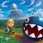 1boy blonde_hair blue_eyes brown_footwear bug butterfly chain chain_chomp clouds day egg english_commentary field flower green_shirt hat holding hylian_shield insect leash likovacs link long_sleeves male_focus mountain open_mouth pointy_ears shield shirt sky smile the_legend_of_zelda the_legend_of_zelda:_link's_awakening tunic walking watermark web_address