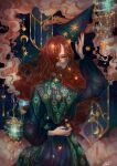 1girl absurdres aki_a0623 blue_eyes clouds crescent_moon feathers highres long_hair magic moon one_eye_covered original pale_skin peacock_feathers redhead sky solo_focus sparks star_(sky) starry_sky starry_sky_print surreal very_long_hair wavy_hair witch