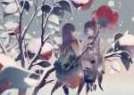 2girls bangs black_hair camellia expressionless flower highres japanese_clothes kimono leaf long_hair long_sleeves medium_hair minigirl multiple_girls obi original plant red_flower sash sitting snow wide_shot wide_sleeves yoggi_(stretchmen)