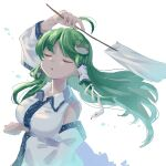1girl 5alive ahoge arm_under_breasts arm_up bare_shoulders breasts closed_eyes collared_shirt commentary_request cropped_torso detached_sleeves dress_shirt eyebrows_visible_through_hair frog_hair_ornament gohei green_hair hair_ornament hair_tubes head_tilt highres kochiya_sanae large_breasts long_hair shirt sleeveless sleeveless_shirt snake_hair_ornament solo touhou two-tone_shirt upper_body white_background white_shirt