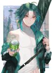 1boy ahoge arm_tattoo bandaged_hand bangs bead_bracelet beads black_hair blurry blurry_background bracelet can collarbone diamond_(shape) eyebrows_visible_through_hair facial_mark forehead_mark genshin_impact green_hair highres holding holding_can jacket jacket_on_shoulders jewelry looking_at_viewer male_focus midriff_peek multicolored_hair navel open_mouth parted_bangs shei99 short_hair_with_long_locks single_bare_shoulder skin_tight solo tagme tattoo two-tone_hair xiao_(genshin_impact) yellow_eyes