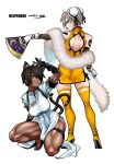 2girls absurdres animal_ear_fluff animal_ears ass back back_cutout bare_legs black_footwear black_gloves black_hair blue_eyes boots breasts bun_cover cat_ears cat_tail china_dress chinese_clothes clothing_cutout dark_skin dark_skinned_female desperado_(yotaro) detached_sleeves double_bun dress earrings fan feather_boa fishnet_sleeves folding_fan gloves hair_over_one_eye high_heel_boots high_heels highres holding holding_fan jewelry large_breasts mao_(yotaro) multiple_girls multiple_tails muscular muscular_female no_bra one_knee panties short_dress shoulder_tattoo side-tie_panties simple_background slit_pupils squatting tachibana_rikka tail tail_ornament tail_ring tattoo thick_thighs thigh-highs thigh_boots thighs underwear white_background white_gloves yellow_dress yotaro