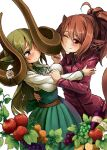 159cm 2girls :t ahoge animal_ears apple belt blush bottle breasts brown_belt closed_mouth curled_horns earrings embarrassed food fruit gran-chan_(159cm) grapes green_hair green_neckwear green_ribbon green_skirt high-waist_skirt highres horns huge_horns jacket jewelry large_breasts long_sleeves multiple_girls neck_ribbon one_eye_closed original ponytail red_apple red_eyes red_jacket ribbon shirt simple_background skirt smile tail white_background white_shirt wine-chan_(159cm) wine_bottle
