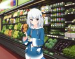 1girl :o blue_eyes blush box broccoli carrot english_commentary fish_tail flat_chest gawr_gura green_bean highres holding holding_box hololive hololive_english looking_to_the_side medium_hair mint mofumancy open_mouth shark_tail silver_hair solo supermarket tail theft two_side_up virtual_youtuber