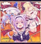 3girls anger_vein animal_ear_fluff animal_ears annoyed arms_behind_back azu_gorilla belt black_legwear black_leotard black_shirt blonde_hair blue_hair blush boots bound bound_arms bound_legs braid breasts bunny_girl bunny_tail carrot_hair_ornament cat_ears cat_tail cloak closed_eyes coat collar dress drooling eyebrows fang food_themed_hair_ornament fork hair_ornament hairband highres hololive horns knife leotard long_hair multicolored_hair multiple_girls nekomata_okayu open_mouth pantyhose purple_hair rabbit_ears rabbit_girl rope saliva sheep_ears sheep_horns shirt short_hair shouting smile tail tears tsunomaki_watame twin_braids twintails two-tone_hair usada_pekora violet_eyes virtual_youtuber white_cloak white_coat white_dress white_footwear white_hair