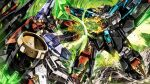 absurdres clenched_hands drill electricity fighting gaofighgar gaogaigar garimpeiro ground_shatter hands_together highres looking_down mecha no_humans orange_eyes science_fiction v-fin yuusha_ou_gaogaigar yuusha_ou_gaogaigar_final yuusha_series