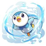 commentary_request creature full_body gen_4_pokemon highres no_humans open_mouth outstretched_arms piplup pokemon pokemon_(creature) poyo_party solo starter_pokemon water water_drop