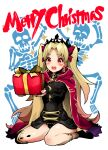 1girl 2others absurdres bangs black_dress black_footwear black_panties blonde_hair blush bow box cape cloak commentary_request crown dress ereshkigal_(fate) fate/grand_order fate_(series) full_body gift gift_box hair_bow happy_tears highres hood hood_down hooded_cloak long_hair merry_christmas multiple_others open_mouth panties pantyshot parted_bangs red_cape red_cloak red_eyes single_thighhigh sitting skeleton socks solo_focus tearing_up tears thigh-highs two_side_up underwear upper_teeth very_long_hair wariza yotaro