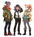 1girl 2boys baseball_cap black_footwear black_hair black_pants boots closed_mouth coat collarbone commentary_request dark_skin dark_skinned_male eyelashes green_coat green_eyes green_shirt hat highres jacket korean_commentary leon_(pokemon) long_hair long_sleeves looking_at_viewer multiple_boys neckerchief open_clothes open_coat orange_hair pants pokemon pokemon_(anime) pokemon_swsh_(anime) raihan_(pokemon) redlhzz ribbed_shirt shirt shoes smile sonia_(pokemon) standing undercut younger zipper_pull_tab