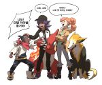 1girl 2boys bangs baseball_cap black_footwear black_headwear black_pants boltund boots brown_hair charmeleon clenched_hand closed_eyes coat commentary_request crossed_arms dark_skin dark_skinned_male duraludon eyelashes gen_1_pokemon gen_8_pokemon hand_on_another's_head hat highres hood hood_down hoodie jacket korean_commentary korean_text leon_(pokemon) long_hair long_sleeves multiple_boys neckerchief open_clothes open_coat open_mouth orange_hair pants pointing pokemon pokemon_(creature) pokemon_(game) pokemon_swsh purple_hair raihan_(pokemon) redlhzz shoes simple_background smile sonia_(pokemon) speech_bubble standing teeth undercut white_background younger zipper_pull_tab |d