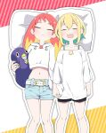 2girls :3 amano_pikamee bare_shoulders belt bird blonde_hair character_pillow closed_eyes commentary crop_top denim denim_shorts dip-dyed_hair drawstring feet_out_of_frame from_above furrowed_eyebrows grin gyari_(bird) gyari_(imagesdawn) highres hikasa_tomoshika hikasa_tomoshika_(artist) holding holding_hands holding_pillow hood hoodie light_blush light_smile long_hair lying midriff mouth_drool multiple_girls nail_polish navel off-shoulder_shirt off_shoulder on_back open_mouth peak pillow redhead sharp_teeth shirt short_hair short_shorts shorts sleeping smile spaghetti_strap teeth virtual_youtuber voms white_hoodie white_shirt yellow_nails