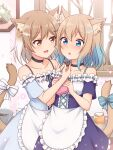 2girls :d :o absurdres animal_ear_fluff animal_ears apron bangs bare_shoulders black_choker blue_bow blue_eyes blue_hair bow box brown_eyes candy cat_ears cat_girl cat_tail chocolate chocolate_heart choker collarbone commentary_request extra_ears eyebrows_visible_through_hair food frilled_apron frills gradient_hair hair_ornament hairclip heart highres holding holding_box indoors light_brown_hair multicolored_hair multiple_girls open_mouth original shiraha_maru short_hair short_sleeves smile striped striped_bow tail tail_bow tail_ornament twitter_username valentine waist_apron white_bow white_hair window yuri