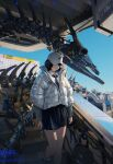 1girl 86_(nononononoway) absurdres animal_skull baseball_cap billboard black_hair black_skirt brown_eyes building city collared_shirt down_jacket english_text fingernails hat highres holding holding_knife knife lorem_ipsum monster necktie original shadow shirt short_hair silver_jacket skeleton skirt stairs tie_clip white_headwear