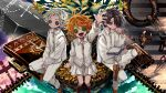 1girl 2boys arm_up azzz_(7334080) black_hair book brown_footwear button_eyes chain collared_shirt commentary_request emma_(yakusoku_no_neverland) flower grey_hair hand_up highres identity_v looking_at_viewer multiple_boys norman_(yakusoku_no_neverland) open_book orange_hair pants ray_(yakusoku_no_neverland) shirt shoes short_hair sitting skirt white_pants white_shirt white_skirt wide_shot yakusoku_no_neverland yellow_flower