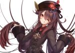 1girl ;q black_headwear brown_hair commentary english_commentary eyebrows_behind_hair fingernails flower flower-shaped_pupils genshin_impact gradient_hair hair_flowing_over hand_in_hair hat hat_flower hat_ornament head_tilt hu_tao long_fingernails long_hair long_sleeves making-of_available mandarin_collar multicolored_hair nail_polish one_eye_closed plum_blossoms red_eyes red_flower redhead smile solo spica_(starlitworks) symbol-shaped_pupils tongue tongue_out twintails upper_body very_long_hair white_background