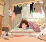 0pinky 1girl absurdres blanket blush brown_hair calendar_(object) closed_eyes clothes_hanger curtains highres long_hair lying on_stomach original pillow power_strip solo window