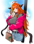 1girl absurdres ahoge bag belt braid breasts clouds coffee denim dragon_girl dragon_horns drinking eyebrows_visible_through_hair highlights highres holding hololive horns jacket jeans kiryuu_coco lamppost large_breasts long_hair multicolored_hair navel orange_hair outdoors pants red_eyes simple_background sky solo standing sweater turtleneck turtleneck_sweater very_long_hair virtual_youtuber yo_na