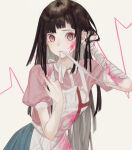 1girl adjusting_hair apron bandaged_arm bandages bandaid bangs black_hair blood blood_on_face blue_skirt blunt_bangs blush closed_mouth commentary danganronpa_(series) danganronpa_2:_goodbye_despair hand_in_hair highres holding holding_syringe long_arms long_hair looking_at_viewer mole mouth_hold mu_ooa open_mouth pink_blood pink_eyes pink_shirt puffy_short_sleeves puffy_sleeves purple_hair shirt short_sleeves simple_background skirt solo striped symbol_commentary syringe tsumiki_mikan upper_body