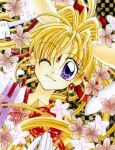 1990s_(style) 1girl animal_ears blonde_hair checkered checkered_background cherry_blossoms close-up closed_mouth earrings extra_ears face fan flower gloves hair_intakes hair_ribbon highres holding holding_fan jewelry kaitou_jeanne kamikaze_kaitou_jeanne kusakabe_maron long_hair looking_at_viewer magical_girl official_art one_eye_closed pointing ponytail rabbit_ears red_ribbon retro_artstyle ribbon scan smile solo tanemura_arina violet_eyes white_gloves