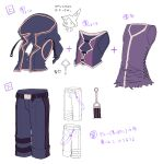belt character_sheet commentary flower_(vocaloid) highres hood hooded_jacket jacket miwasiba official_art purple_shirt purple_shorts purple_vest shirt shorts sleeveless sleeveless_jacket torn_clothes torn_shirt translated v_flower_(vocaloid4) vest vocaloid white_background