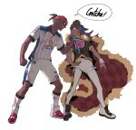 2boys bangs baseball_cap cape champion_uniform clenched_hand collared_shirt commentary_request dark_skin dark_skinned_male fur-trimmed_cape fur_trim hat height_difference highres knees korean_commentary legs_apart leon_(pokemon) long_hair male_focus multiple_boys number orange_headwear pokemon pokemon_(game) pokemon_swsh purple_hair raihan_(pokemon) red_cape redlhzz shirt shoes short_shorts short_sleeves shorts simple_background socks speech_bubble standing torn_clothes torn_shirt undercut white_background white_legwear white_shorts white_wristband yellow_eyes