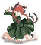 1girl animal_ears artist_request bare_legs barefoot black_bow black_ribbon bow braid cat_ears cat_tail dress extra_ears eyebrows_visible_through_hair eyelashes fingernails full_body green_dress hair_bow juliet_sleeves kaenbyou_rin leg_ribbon long_hair long_sleeves multiple_tails nail_polish nekomata pink_nails print_dress puffy_sleeves red_eyes redhead ribbon tail toenails touhou twin_braids two_tails