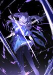 1girl absurdres black_gloves black_legwear clouds commentary_request genshin_impact gloves highres holding holding_sword holding_weapon keqing_(genshin_impact) kuronoiparoma lightning looking_back purple_hair purple_skirt skirt solo sword twintails violet_eyes weapon