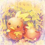 closed_eyes closed_mouth commentary_request flower gen_3_pokemon head_tilt no_humans pokemon pokemon_(creature) sitting starter_pokemon torchic yellow_flower yukichi_(tsuknak1)