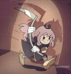 1930s_(style) 1girl artist_name bangs black_dress black_eyes blush cape cuphead_(game) dress english_commentary film_grain highres holding holding_scythe hololive hololive_english long_hair looking_ahead mori_calliope parody pink_hair running scythe shadow solo spikes spotlight style_parody tiara virtual_youtuber zarasaru