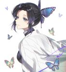 1girl bangs black_jacket blue_butterfly bug butterfly butterfly_hair_ornament from_behind from_side green_butterfly hair_ornament haori highres insect jacket japanese_clothes kimetsu_no_yaiba kochou_shinobu oshage_(user_kpsn5534) parted_bangs purple_hair simple_background smile solo upper_teeth violet_eyes white_background