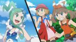 3girls :d bangs bare_arms blue_eyes blue_ribbon blurry blurry_background clenched_hand clenched_hands closed_mouth clouds commentary day english_commentary eyelashes fanny_pack green_eyes green_hair hair_ornament hairband hairpin hands_up hat highres light_brown_hair lisia_(pokemon) lukas_thadeu may_(pokemon) multiple_girls official_style open_mouth outdoors pokemon pokemon_(anime) pokemon_(game) pokemon_oras pokemon_xy_(anime) ribbon serena_(pokemon) shirt short_hair shorts sky sleeveless sleeveless_shirt smile splitscreen sweatdrop teeth thigh-highs tongue watermark yellow_bag
