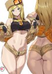 1girl ashiomi_masato ass back bangs bare_shoulders beige_jacket black_gloves blonde_hair blue_eyes breasts fingerless_gloves fur_hat gloves guilty_gear guilty_gear_strive hat highres jacket large_breasts long_hair long_sleeves looking_at_viewer micro_shorts millia_rage off_shoulder open_clothes open_jacket shorts thighs ushanka