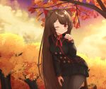 1girl :3 absurdres animal_ears autumn_leaves black_jacket black_skirt blush bow bowtie brown_hair cat_ears closed_mouth clouds cloudy_sky commission copyright_request dot_nose double-breasted hand_on_leg hand_up highres jacket klaius leaning_forward long_hair looking_at_viewer miniskirt one_eye_closed pantyhose paw_pose red_bow red_eyes red_neckwear skirt sky smile solo sunset tail thighband_pantyhose tree very_long_hair yellow_sky