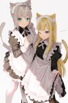 2girls ahoge animal_ears apron aqua_eyes blonde_hair blue_eyes cat_ears cat_tail dress fate_(series) gray_(fate) grey_hair highres long_hair lord_el-melloi_ii_case_files maid maid_apron maid_headdress mocha_(mokaapolka) multiple_girls one_eye_closed pantyhose reines_el-melloi_archisorte signature smile tail