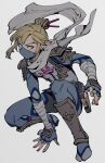 1boy armor bandaged_arm bandages bangs belt blonde_hair blue_eyes costume_request earrings fingerless_gloves floating_scarf full_body gloves hair_ornament highres jewelry link long_hair looking_at_viewer male_focus mask mouth_mask oimkimn pointy_ears sidelocks simple_background sitting solo the_legend_of_zelda the_legend_of_zelda:_breath_of_the_wild white_background