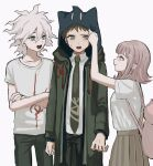 1girl 2boys :d adjusting_hood animal_bag animal_ears animal_hood arm_up backpack bag bangs blush borrowed_garments brown_eyes brown_hair brown_pants cat_bag cat_ears cat_hood coat collarbone collared_shirt commentary_request cowboy_shot crossed_arms danganronpa_(series) danganronpa_2:_goodbye_despair fake_animal_ears flipped_hair green_coat green_pants grey_hair hair_ornament hairclip highres hinata_hajime hood hood_up hoodie komaeda_nagito long_sleeves medium_hair multiple_boys nanami_chiaki necktie open_mouth pale_skin pants pink_bag pleated_skirt print_shirt renshu_usodayo shirt shirt_tucked_in short_hair skirt smile spaceship_hair_ornament sweatdrop t-shirt white_hair white_shirt