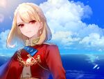 1girl alternate_uniform artist_name azur_lane blonde_hair braid closed_mouth clouds cloudy_sky earrings eye_piercing eyebrows_visible_through_hair florists_daisy french_braid highres jewelry looking_at_viewer medium_hair ocean prince_of_wales_(azur_lane) red_eyes simple_background sky solo uniform
