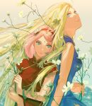2girls blonde_hair blue_dress blue_eyes breasts china_dress chinese_clothes dress english_commentary facial_mark flower forehead_mark from_side green_eyes hairband haruno_sakura highres holy_pumpkin light_smile lips long_hair multiple_girls naruto_(series) pink_hair red_dress short_hair yamanaka_ino