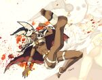 1girl barefoot belt_buckle beltbra buckle cape dark_skin dark_skinned_female guilty_gear guilty_gear_xrd hat highres kicking midriff ramlethal_valentine redcat shorts silver_hair solo_focus thigh_strap white_cape white_headwear white_shorts