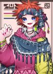 1girl aishirooto214 azzz_(7334080)_(style) blue_eyes collared_shirt earrings hand_up highres hood hood_down jewelry looking_at_viewer orange_hair original pink_nails shadow shirt short_hair solo tassel