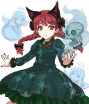 animal_ears black_bow black_ribbon bow braid cat_ears closed_eyes cowboy_shot dress extra_ears eyebrows_visible_through_hair eyelashes goto_tsukasa green_dress hair_bow hitodama juliet_sleeves kaenbyou_rin long_hair long_sleeves nekomata puffy_sleeves red_eyes redhead ribbon simple_background skull smile touhou twin_braids upper_body white_background zombie_fairy