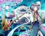 1boy arabian_architecture archbishop_(ragnarok_online) bangs berry black_gloves blue_coat bridge building coat commentary_request cowboy_shot cross cross_necklace diadem eyes_visible_through_hair fingerless_gloves flower gem gloves holding holding_staff jewelry leaf long_sleeves looking_at_viewer male_focus necklace pants parted_lips purple_flower ragnarok_online retgra short_hair solo sparkle staff tree two-tone_coat violet_eyes white_coat white_hair white_pants